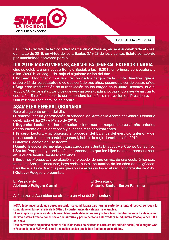 ASAMBLEA SOCIOS / 29 MARZO